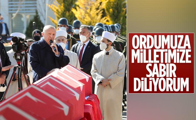 Cumhurbaşkanı Erdoğan, şehitlere veda töreninde konuştu