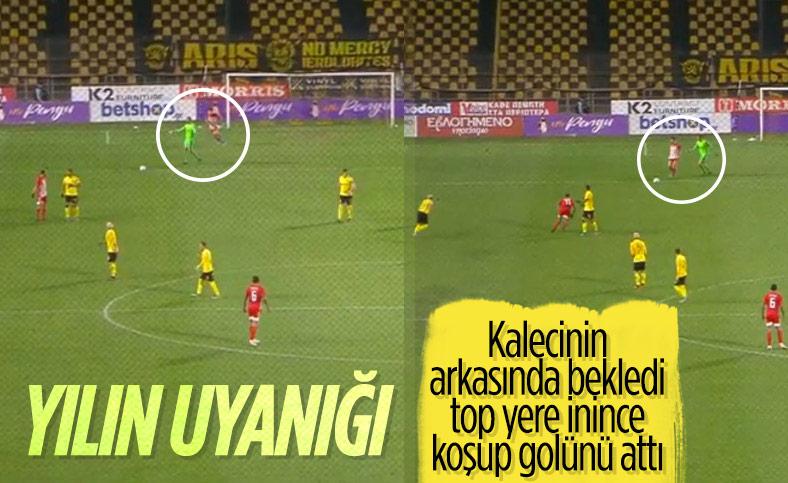 Kalecinin arkasında bekleyen Bouchalakis golünü attı