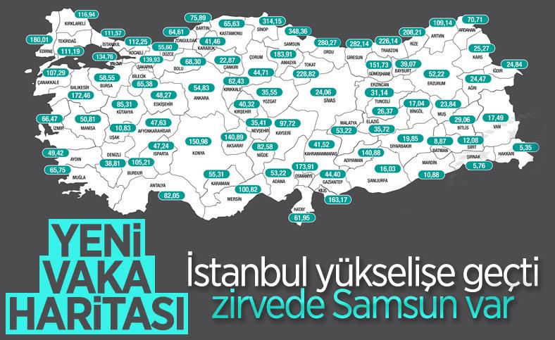 Türkiye'nin güncel haftalık vaka haritası