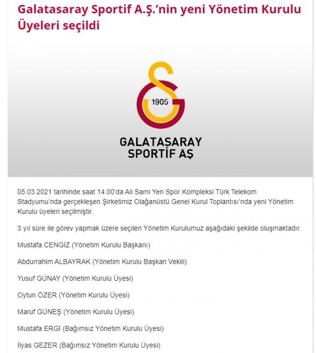 Galatasaray ın yeni yönetim kurulu üyeleri seçildi #1