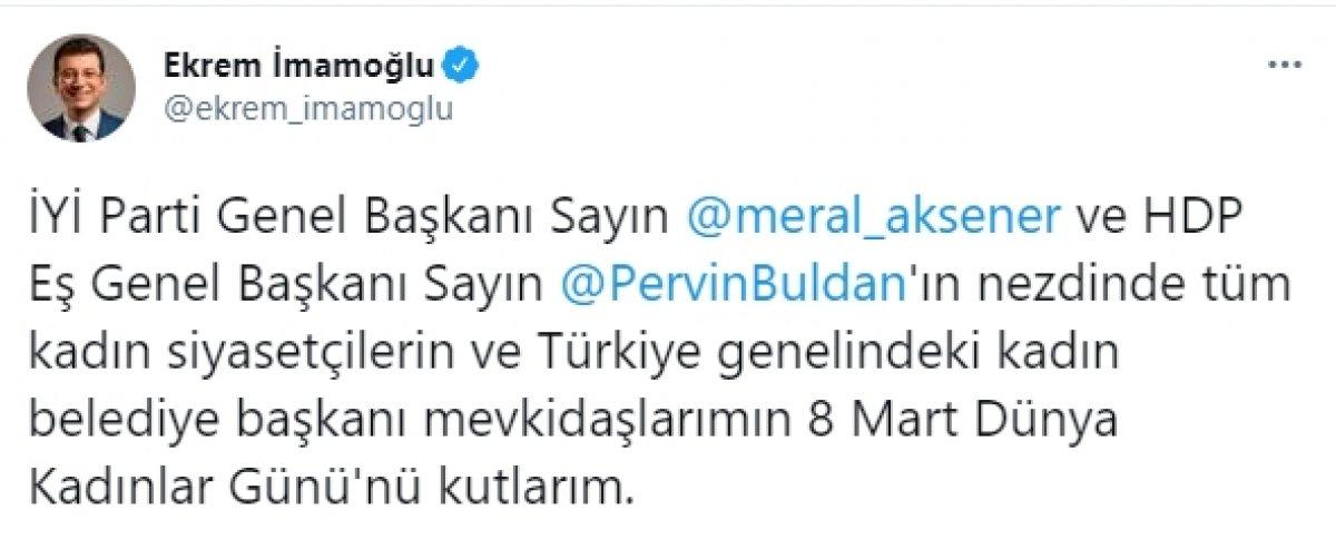 Pervin Buldan dan Ekrem İmamoğlu nun tweet i için açıklama: Korkaksınız #1