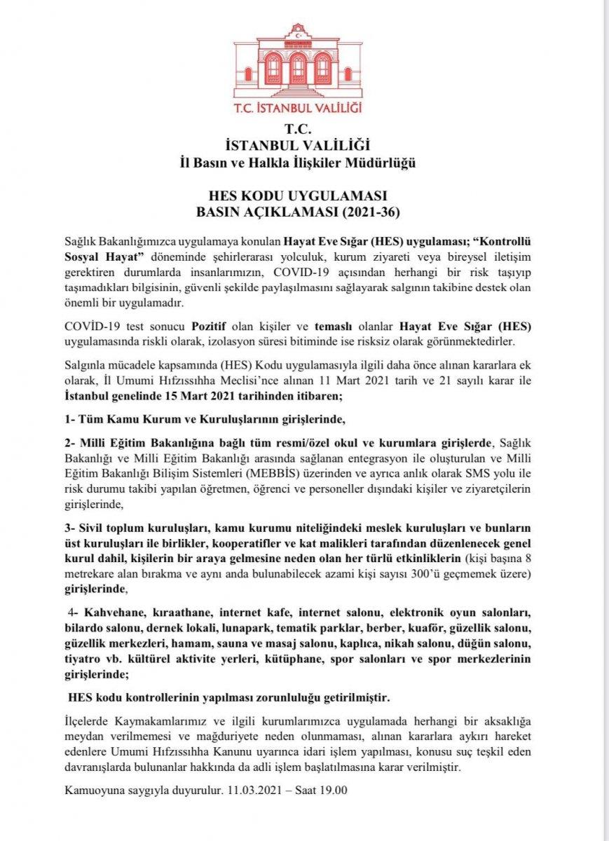 İstanbul da yeni  HES kodu  kararı #2