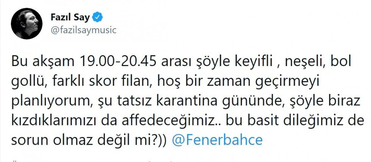 Fazıl Say, Fenerbahçe ye sitem etti #2
