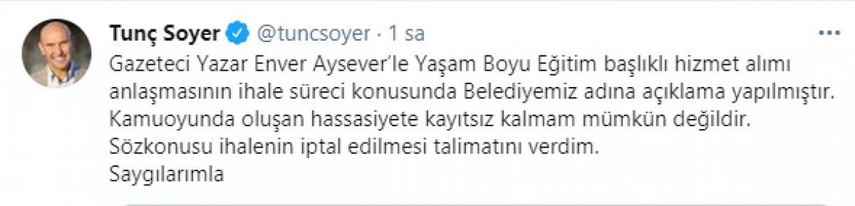 İzmir Büyükşehir Belediyesi, Enver Aysever in ihalesini iptal etti  #1