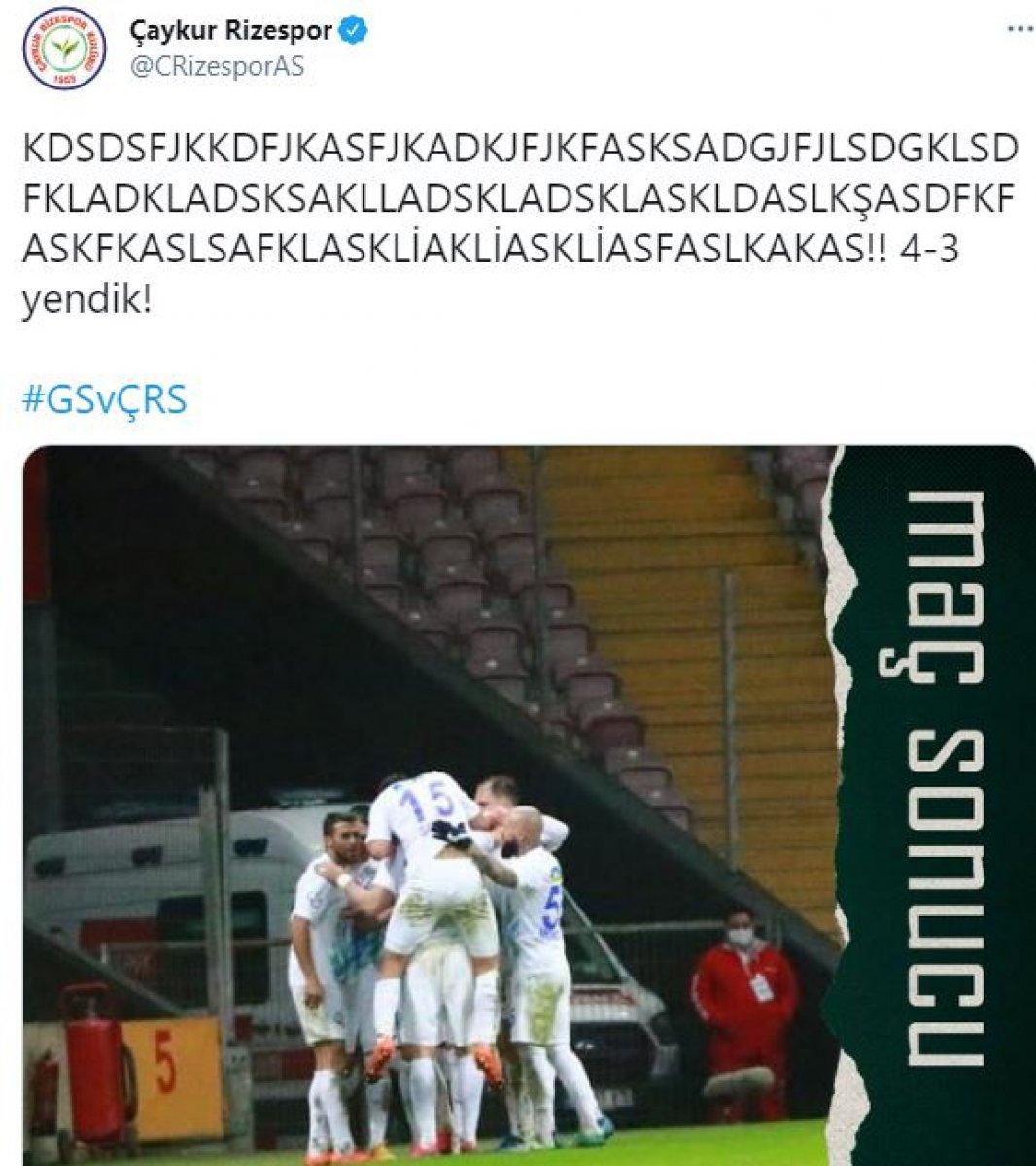 Rizespor dan Galatasaray a maç sonu göndermesi #1