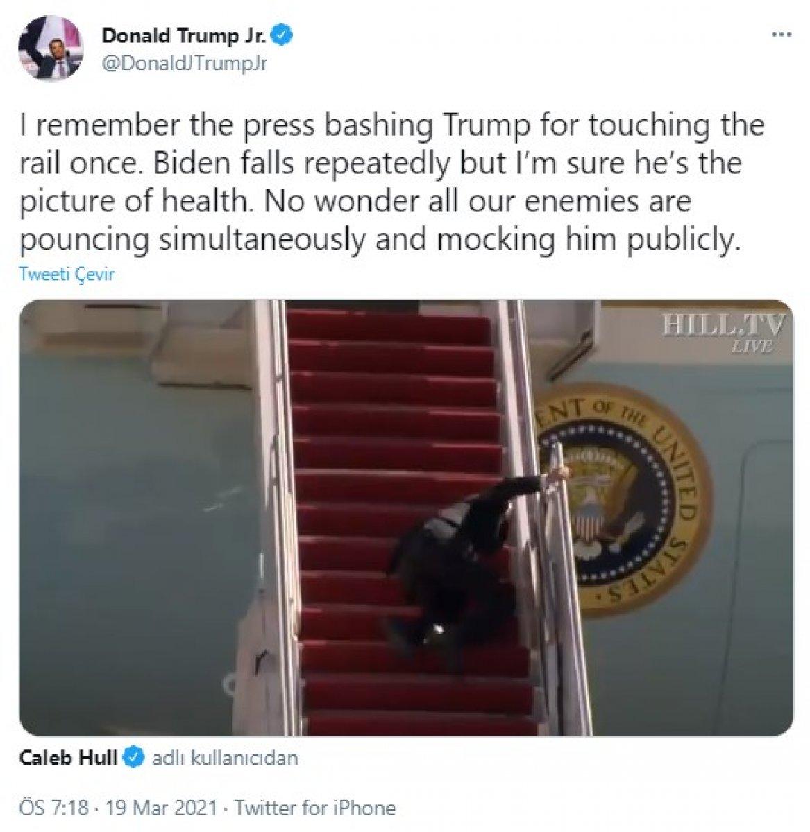Donald Trump ın oğlu Joe Biden ın düşüşüyle alay etti #1