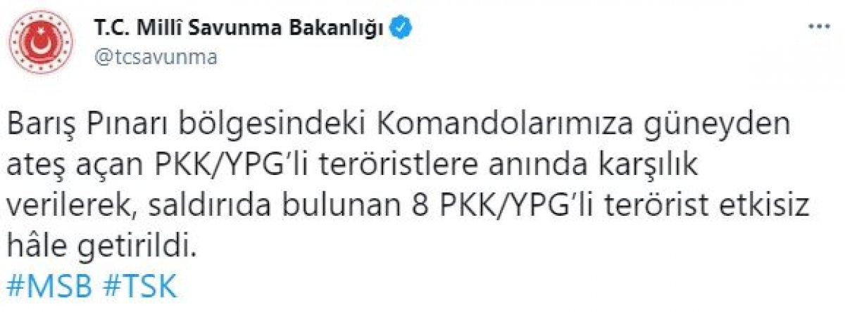 Barış Pınarı bölgesinde 8 terörist etkisiz hale getirildi #1