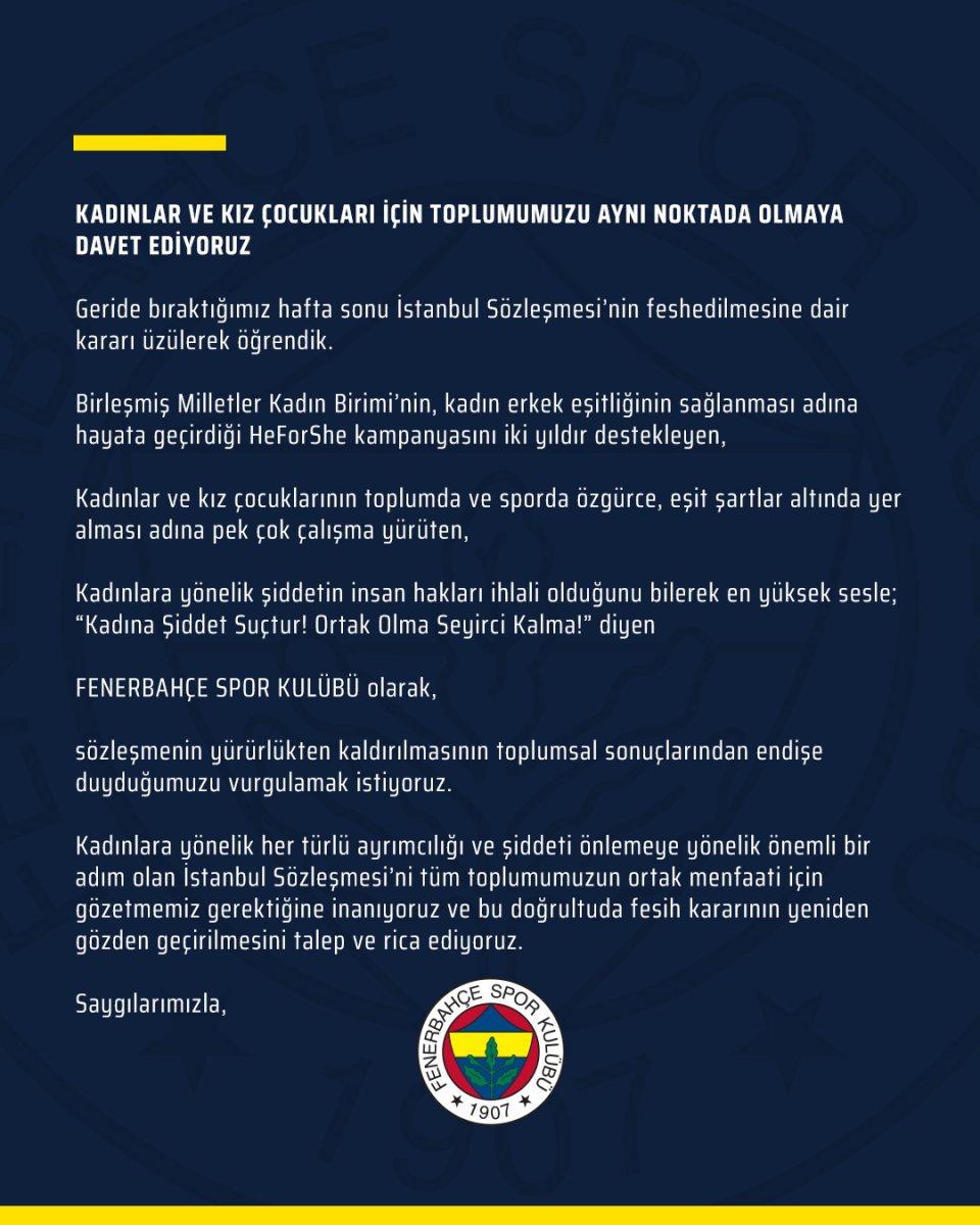Fenerbahçe den  İstanbul Sözleşmesi  tepkisi #3