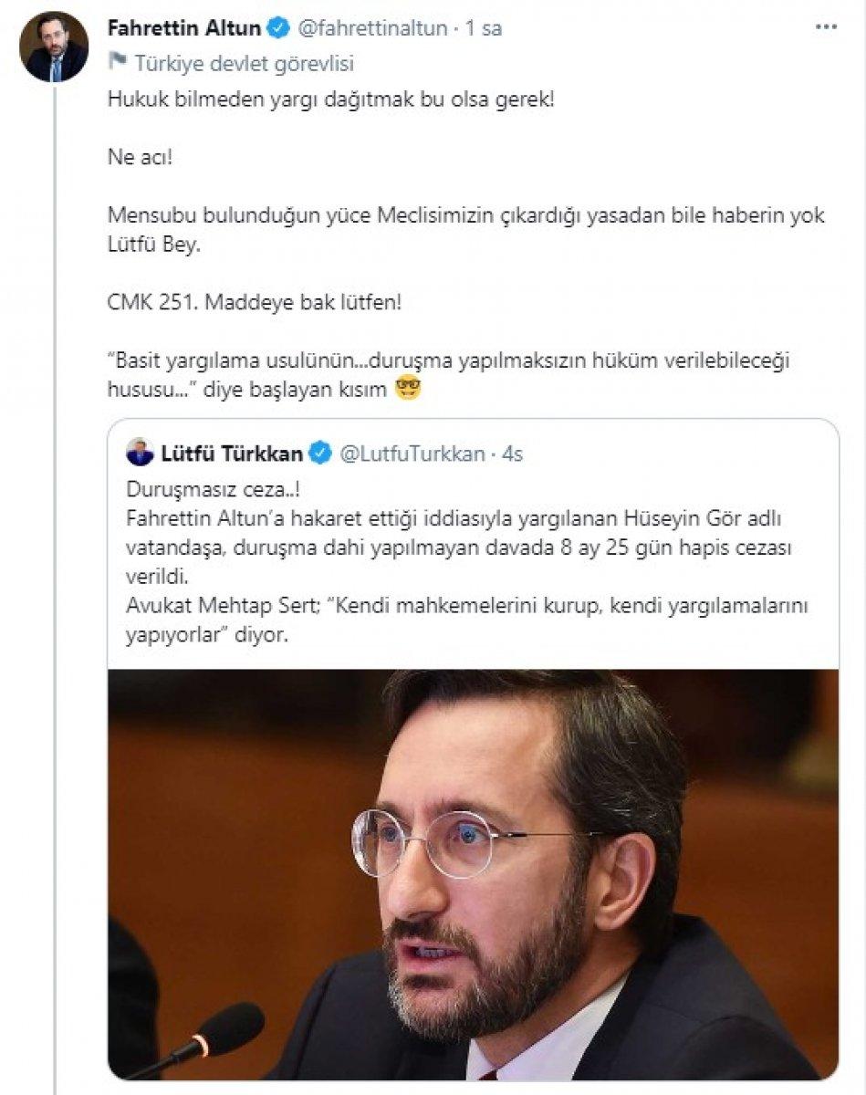 Fahrettin Altun dan Lütfü Türkkan a hukuk dersi #1
