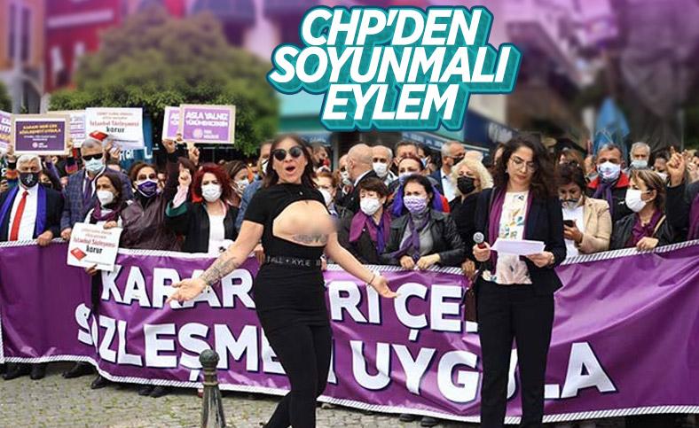 Antalya'da üstsüz İstanbul Sözleşmesi eylemi