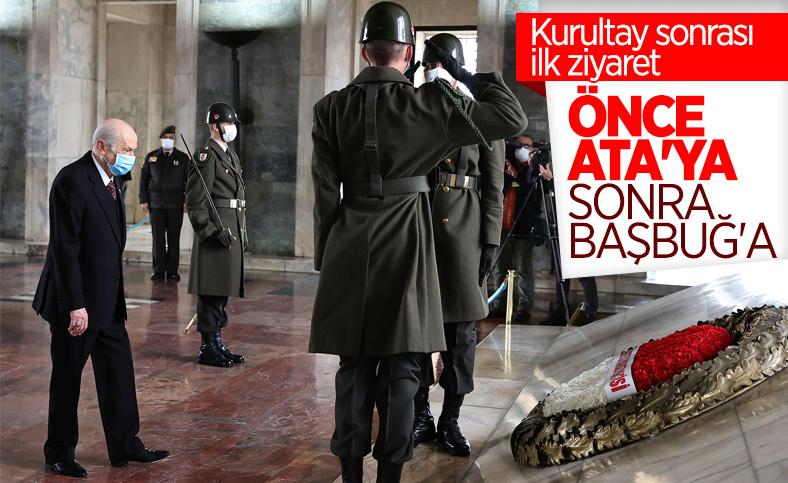Devlet Bahçeli'den Anıtkabir'e ve Alparslan Türkeş'in kabrine ziyaret