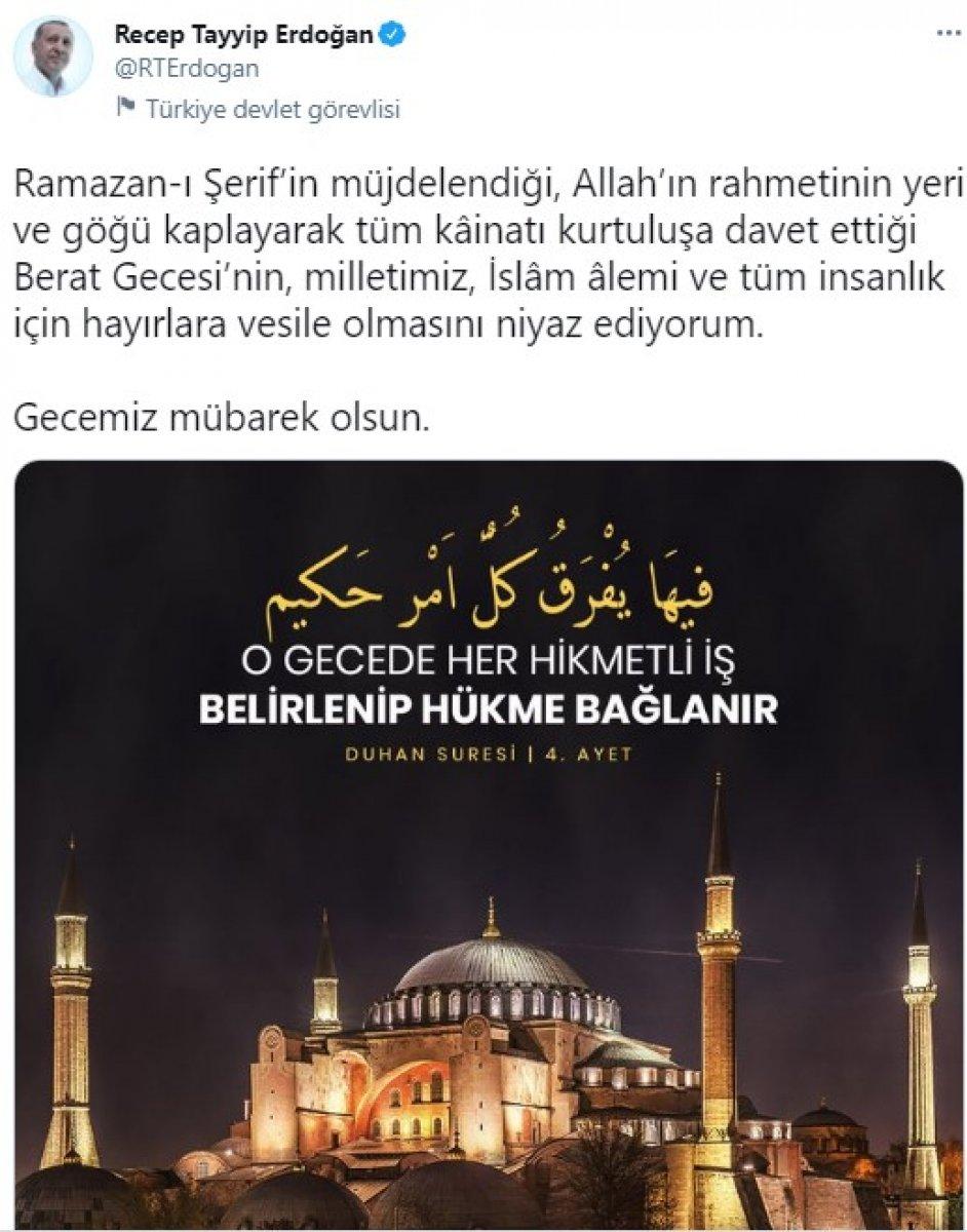 Cumhurbaşkanı Erdoğan dan Berat Kandili mesajı #1