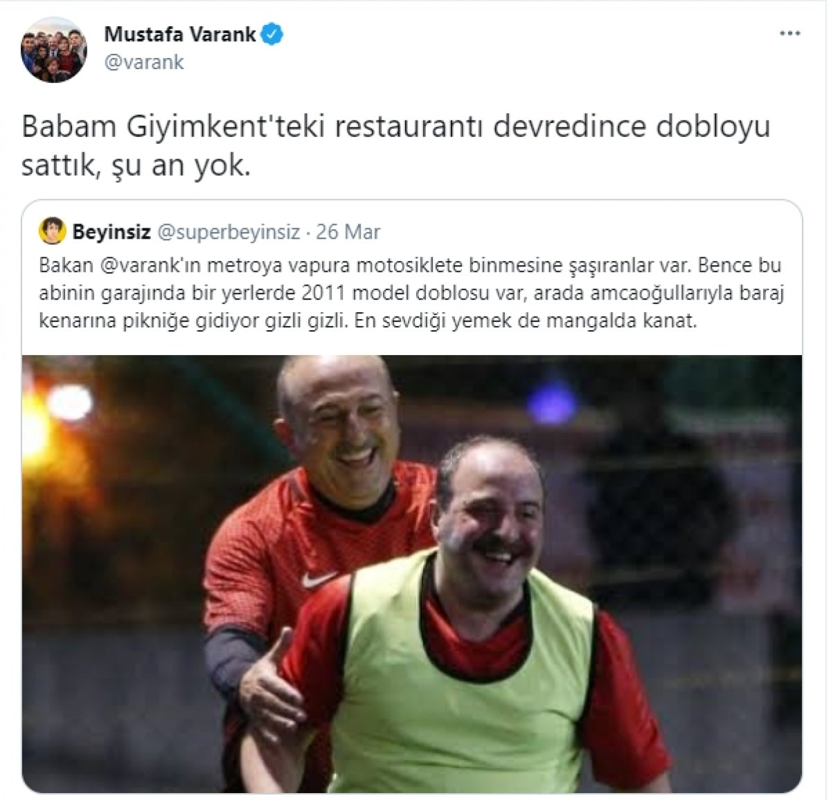 Sanayi ve Teknoloji Bakanı Mustafa Varank tan doblo esprisi #1