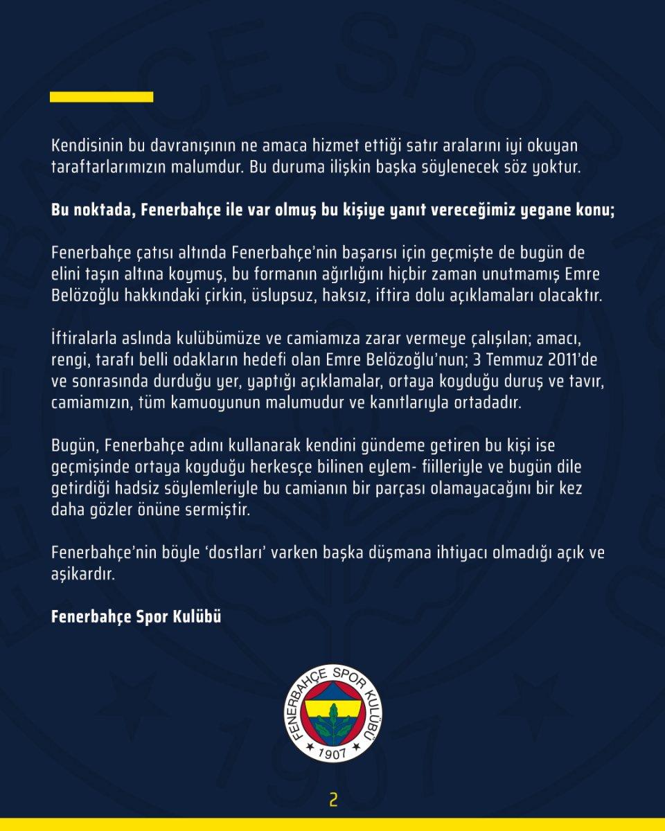 Fenerbahçe den Ümit Özat a sert tepki #2