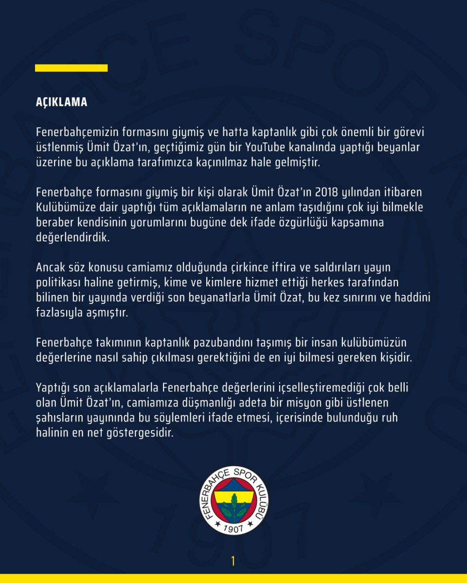 Fenerbahçe den Ümit Özat a sert tepki #1