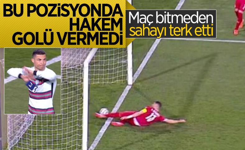 Golü vermeyen hakeme kızan Ronaldo, pazubandını atıp sahayı terk etti