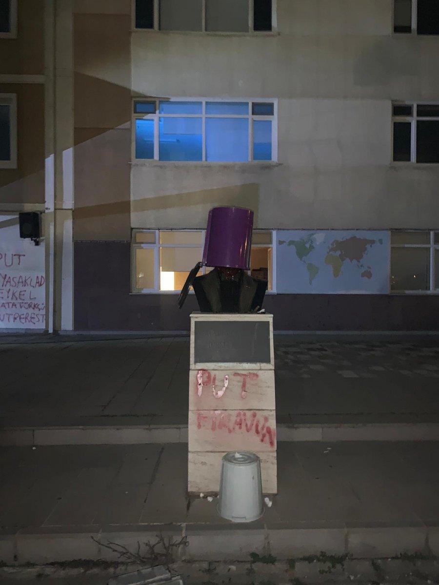 Tekirdağ da Atatürk heykeline çirkin saldırı #6