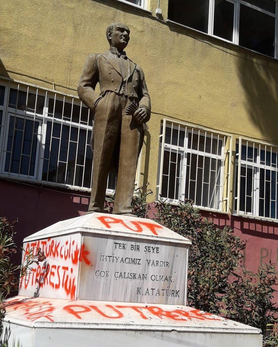 Tekirdağ da Atatürk heykeline çirkin saldırı #4