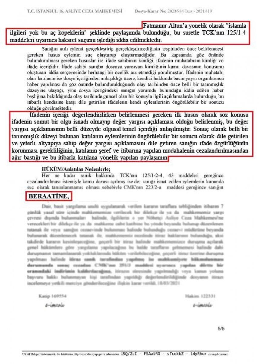 Fatmanur Altun'a hakaret davasında hakimden şaşkına çeviren karar #3