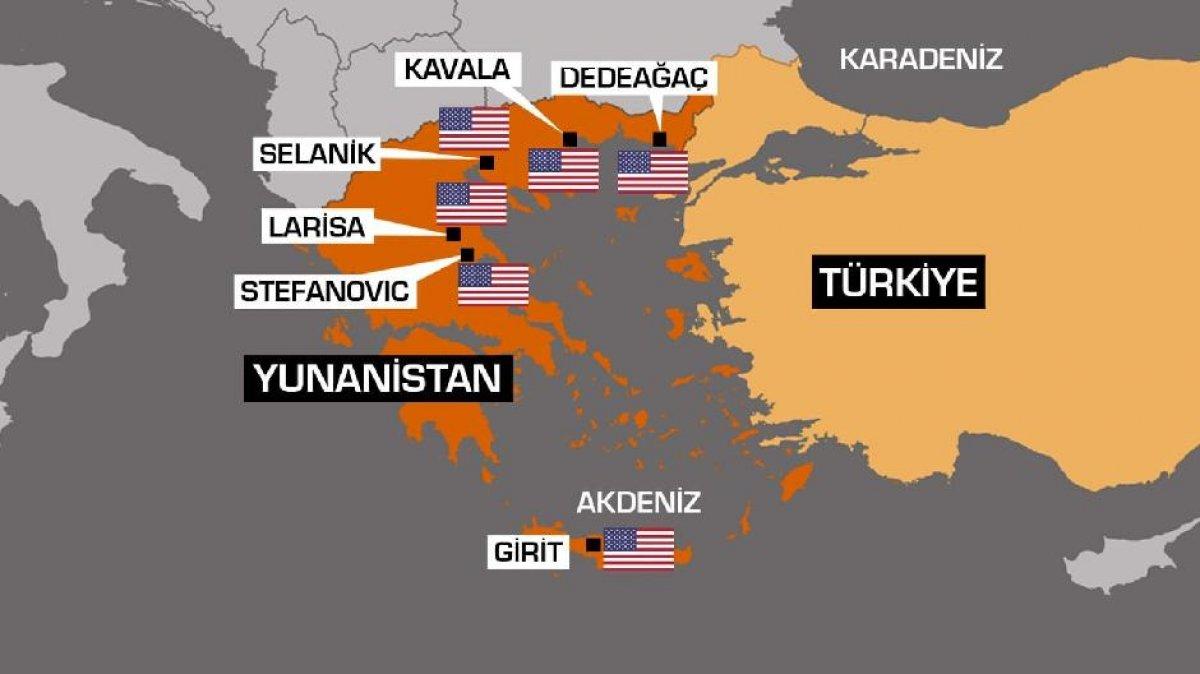 Yunanistan daki Amerikan üslerini gösteren harita #1