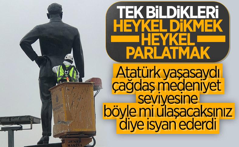 İBB, Atatürk anıtına bakım yaptı