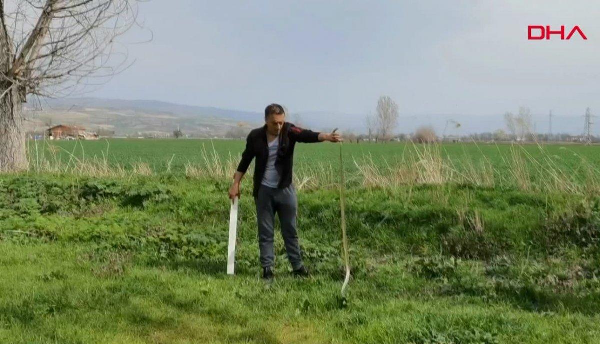 Bursa da 2 metrelik yılanı eliyle yakaladı #4