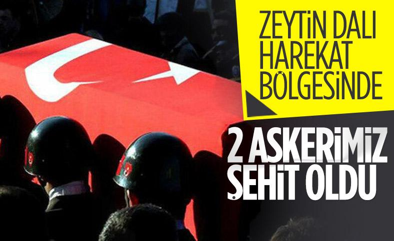 Zeytin Dalı Harekat bölgesinde 2 şehit