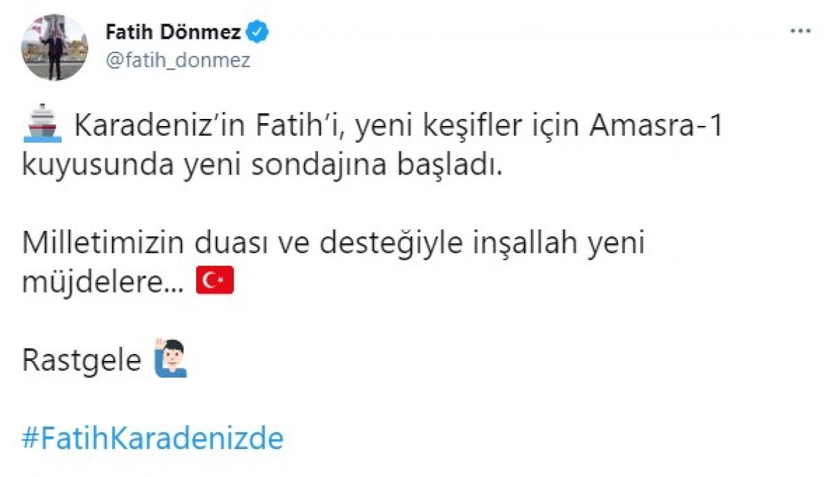 Fatih Dönmez: Karadeniz in Fatih i yeni sondaja başladı #1
