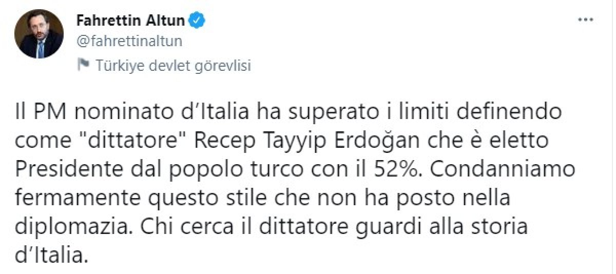 Fahrettin Altun dan, Mario Draghi ye İtalyanca cevap #1