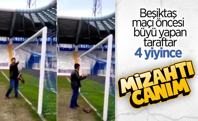 BB Erzurumspor - Beşiktaş maçı öncesi kale önünde dua eden genç: Büyü değil mizah çekimiydi