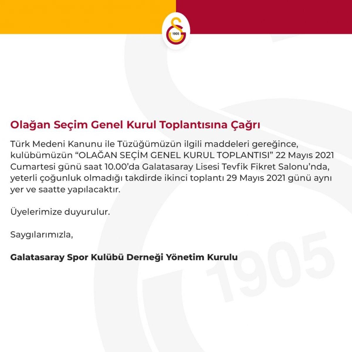 Galatasaray da seçim tarihi belirlendi  #1