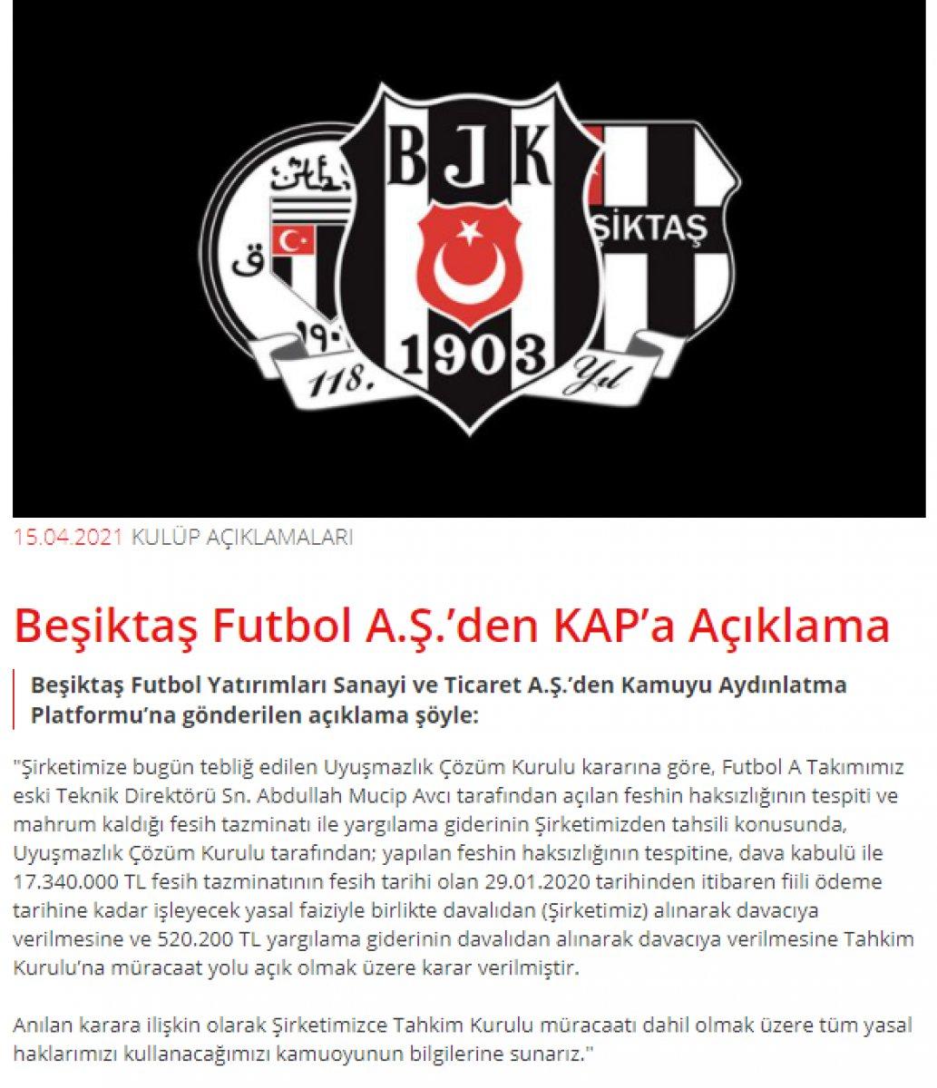 Beşiktaş tan Abdullah Avcı nın sözleşme feshine dair açıklama #2