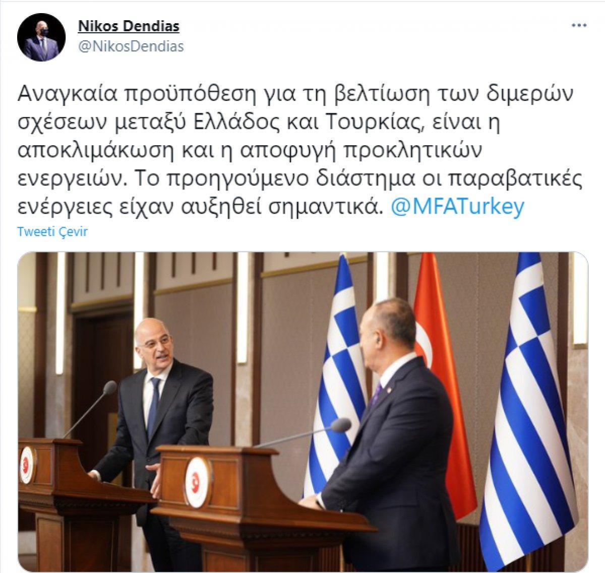 Mevlüt Çavuşoğlu ndan azar yiyen Dendias ın Twitter açıklamaları #1