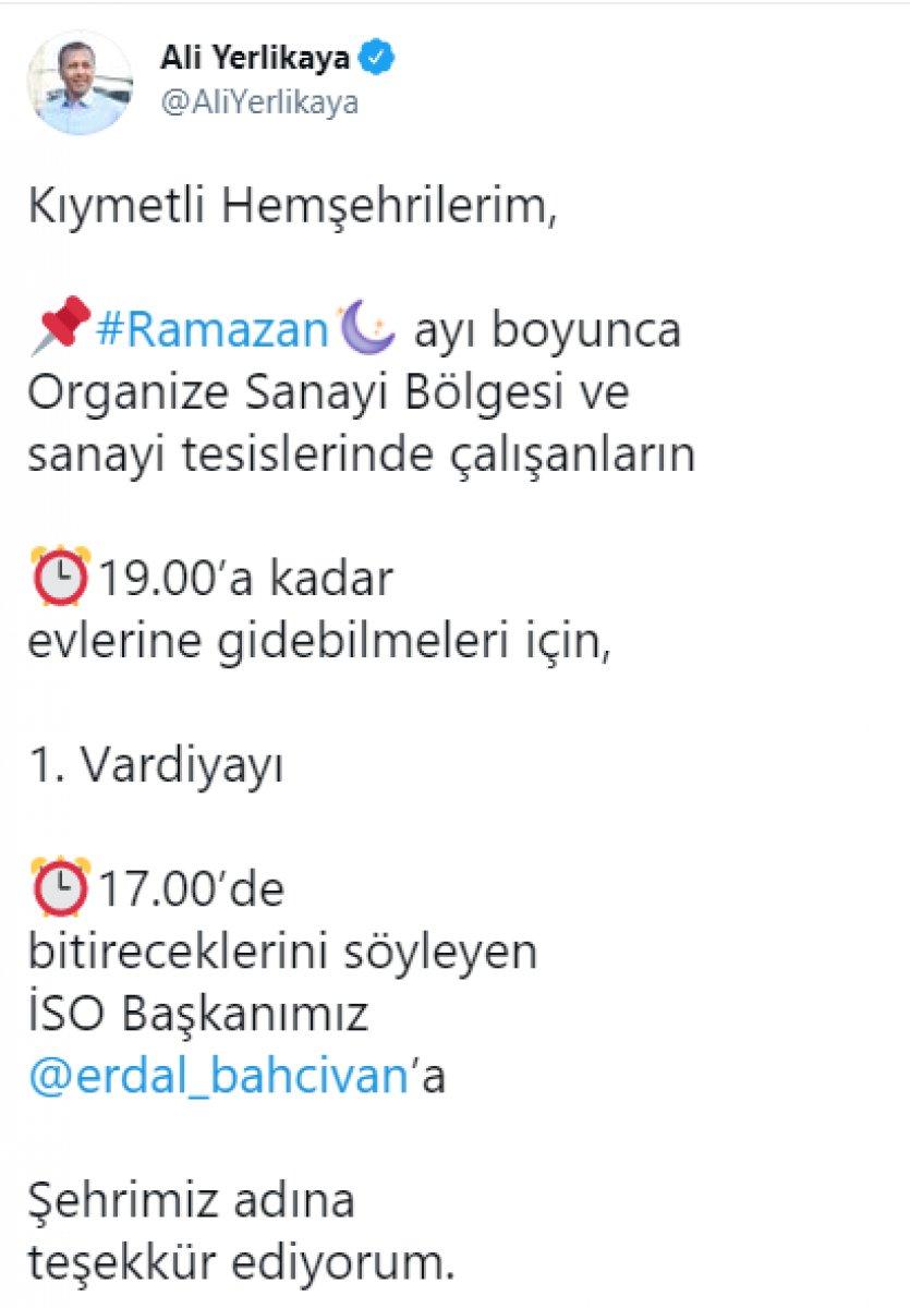Ali Yerlikaya: OSB'lerde 1'inci vardiya 17.00'de bitecek