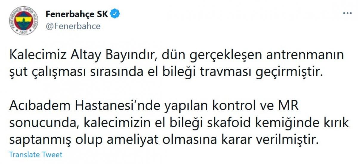 Fenerbahçe de Altay Bayındır sakatlandı #2