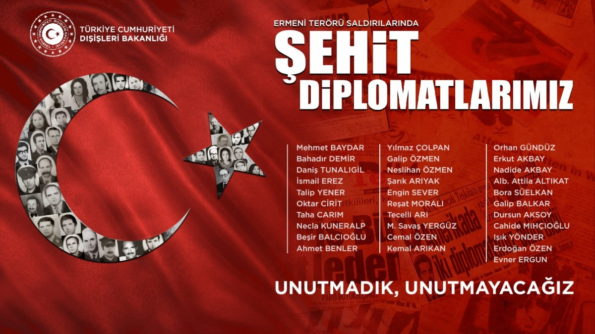 Dışişleri Bakanlığı: Ermeni terörünün şehit ettiği arkadaşlarımızı unutmayacağız #1