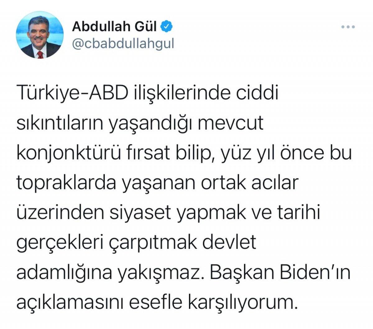 Biden ın Ermeni iddialarını kabulüne Ali Babacan ve Abdullah Gül den farklı tepkiler #2