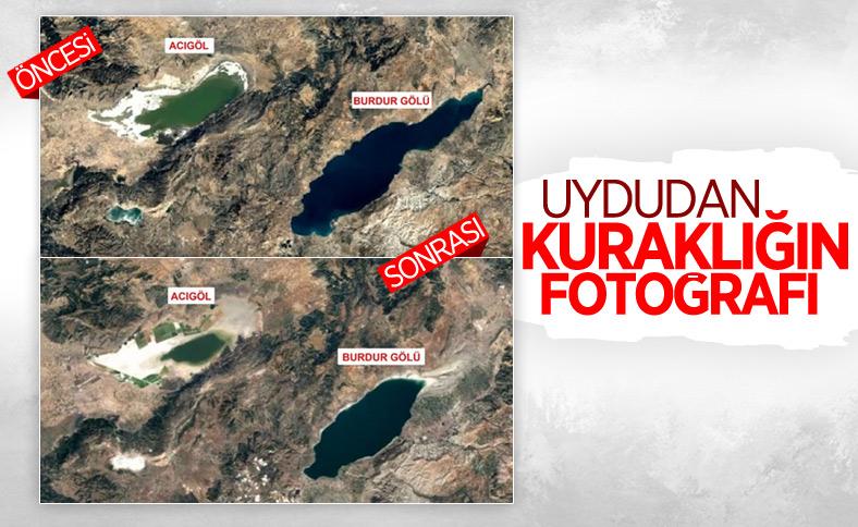36 yıllık uydu fotoğraflarıyla gölleri vuran kuraklık belgelendi