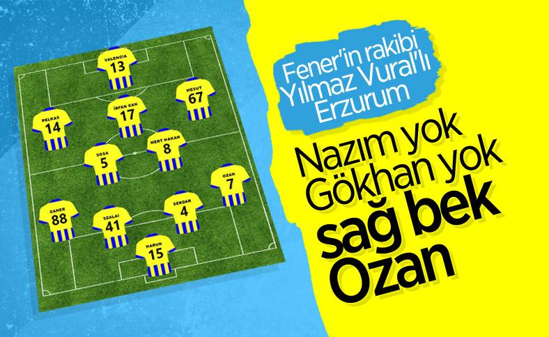 Fenerbahçe'nin BB Erzurumspor maçı muhtemel 11'i