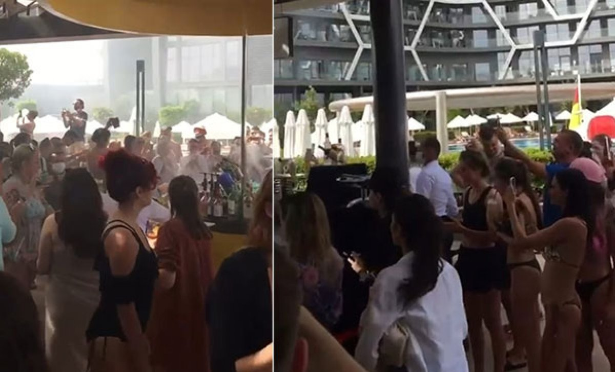 Antalya da, otelde hınca hınç  korona  partisi #4