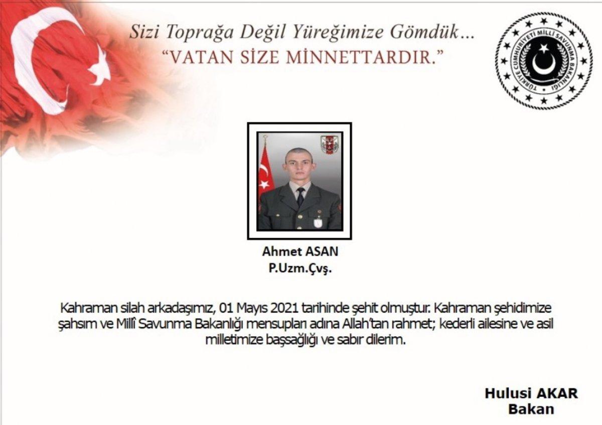 Şehit Piyade Uzman Çavuş Ahmet Asan ın ailesine acı haber verildi #1