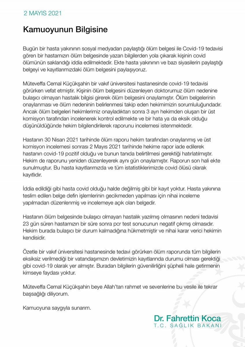 Fahrettin Koca dan ölüm raporu açıklaması #3
