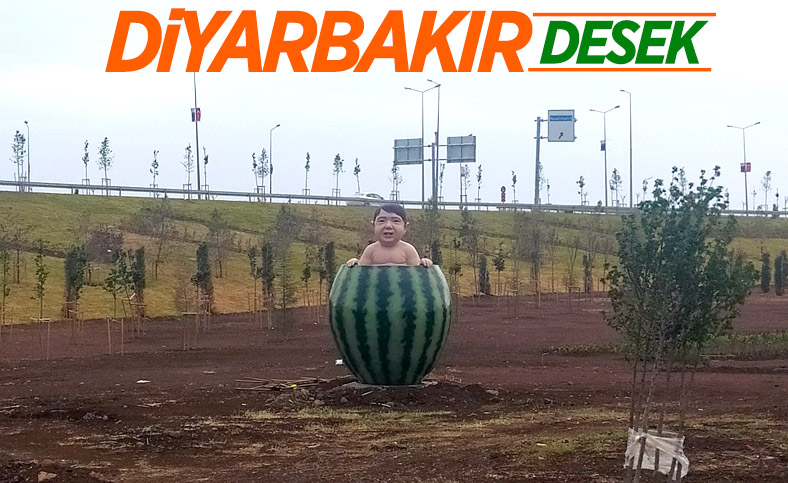 Diyarbakır'a karpuz içinde çocuk heykeli dikildi