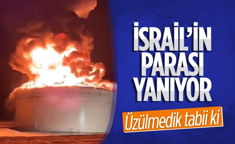 İsrail petrol boru hattına ait petrol tankında yangın