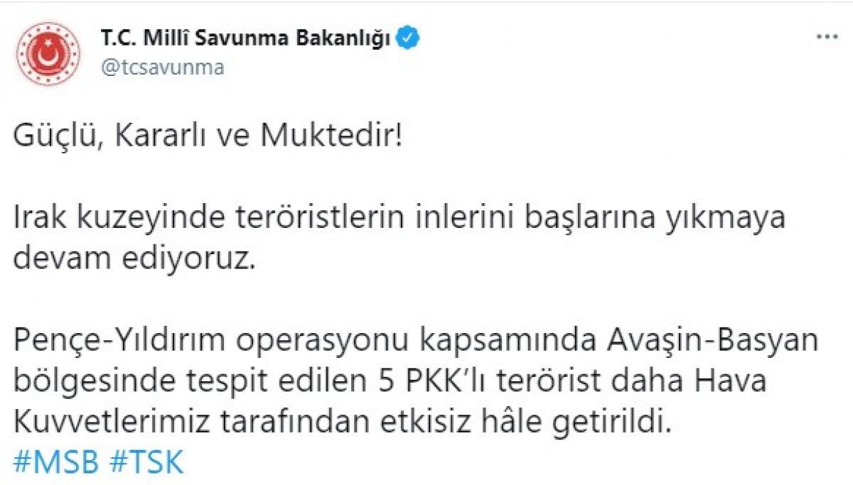 Pençe Yıldırım operasyonunda 5 PKK lı öldürüldü #1