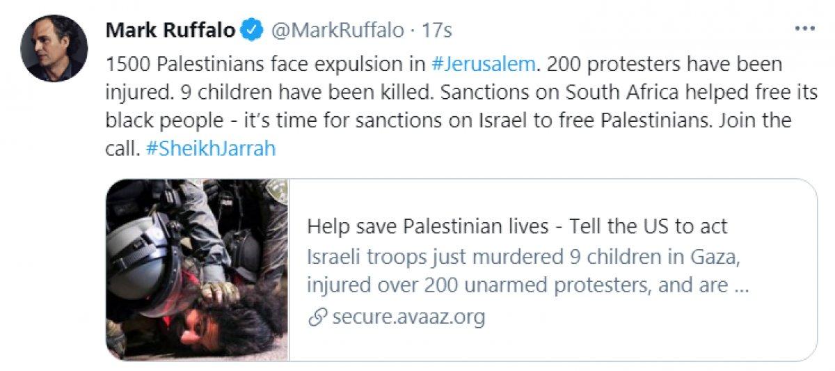 Mark Ruffalo dan İsrail işgaline karşı yaptırım çağrısı #1