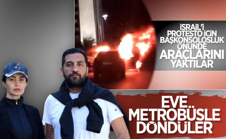 İsrail'i protesto etmek için aracını yakan çift, eve metrobüsle döndü
