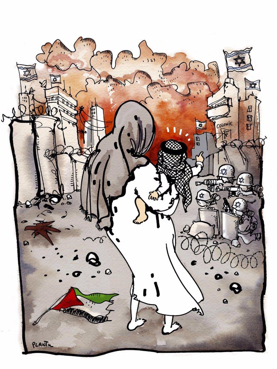 Fransız karikatürist, İsrail in Filistin i işgalini çizdi #2