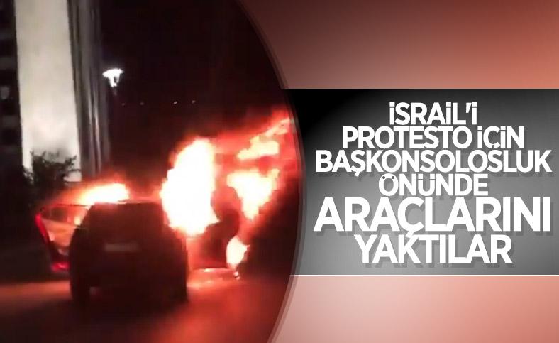 İsrail'i protesto için İstanbul Başkonsolosluğu önünde otomobillerini yaktılar