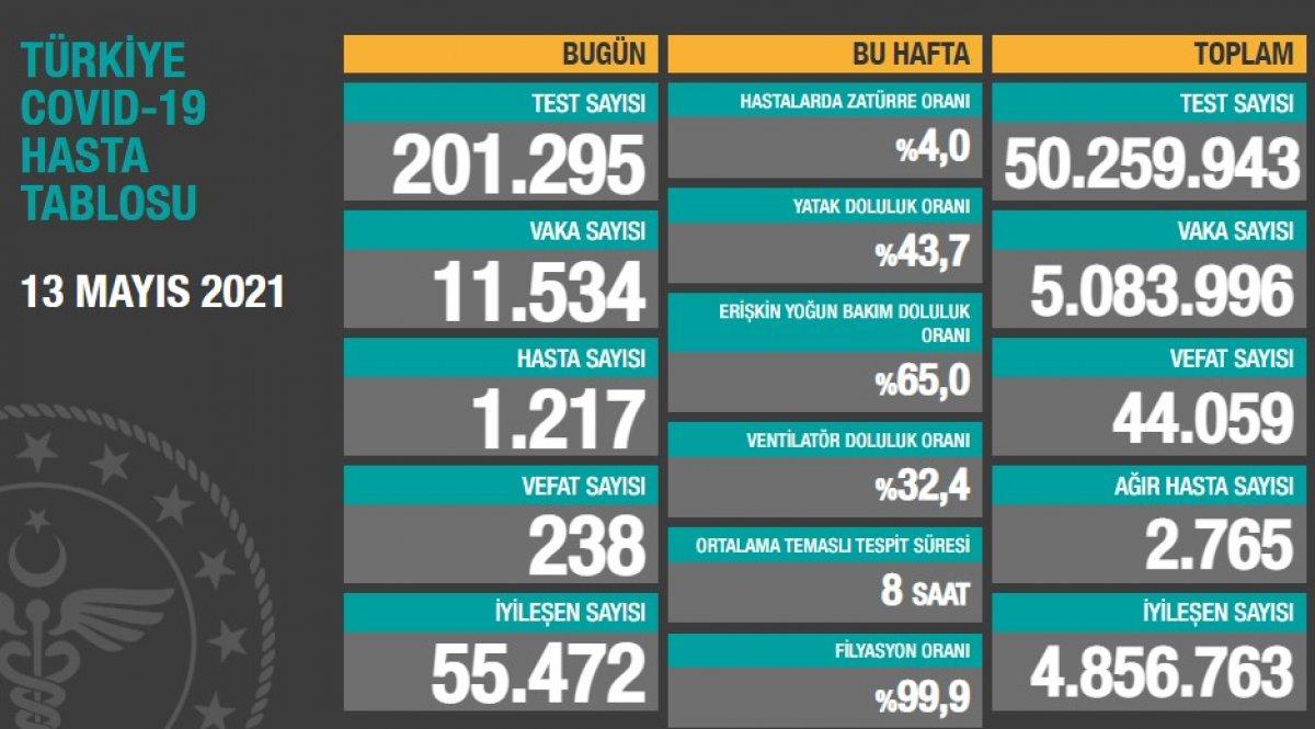 13 Mayıs Türkiye de koronavirüs tablosu #1